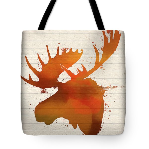 Moose Head Autumn Paint Tote Bag