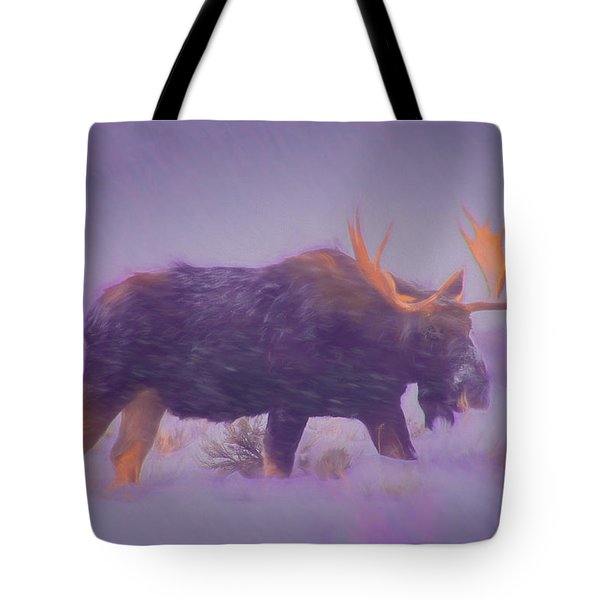 Moose In A Blizzard Tote Bag