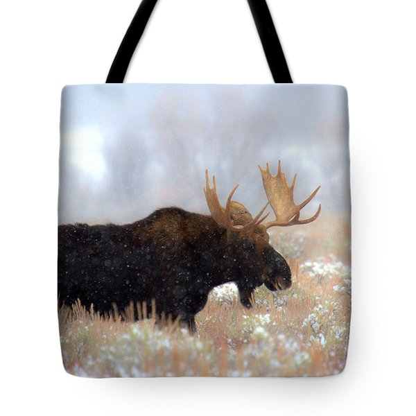 Tote Bag featuring the photograph Moose In The Fog Silhouette by Adam Jewell