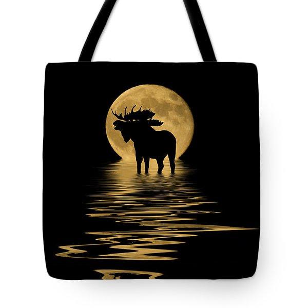 Moose In The Moonlight Tote Bag