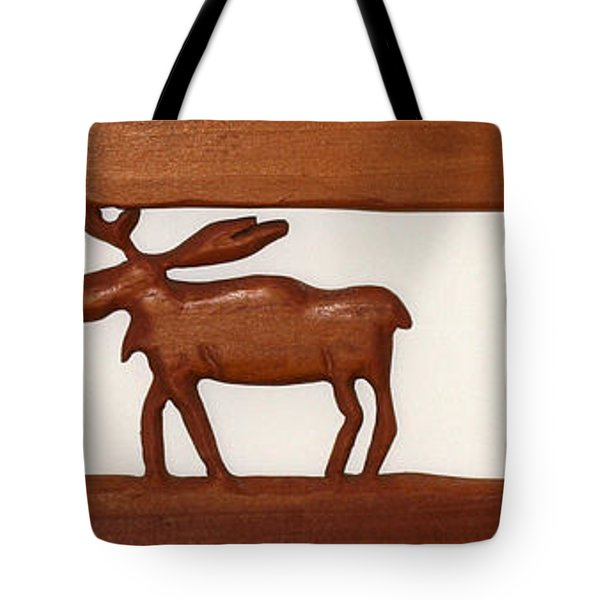 Tote Bag featuring the mixed media Moose Walking Through The Forest by Robert Margetts