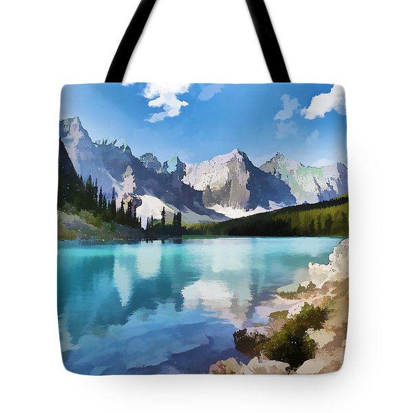 Moraine Lake At Banff National Park Tote Bag
