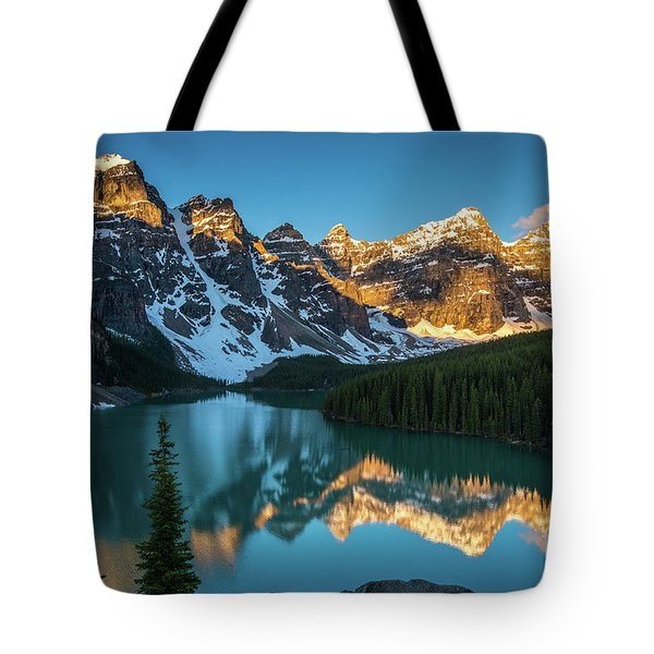 Moraine Lake Golden Alpenglow Reflection Tote Bag