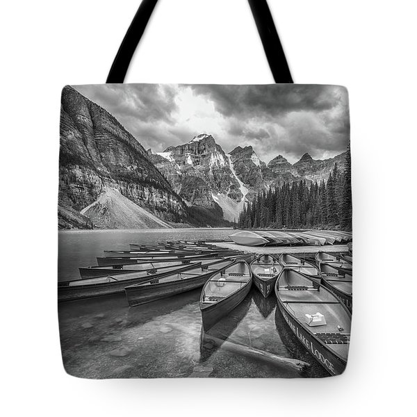 Moraine Lake In Black And White Tote Bag