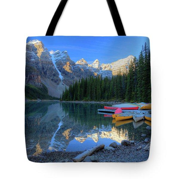 Moraine Lake Sunrise Blue Skies Canoes Tote Bag