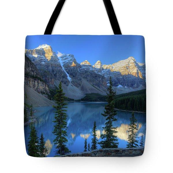 Moraine Lake Sunrise Blue Skies Tote Bag