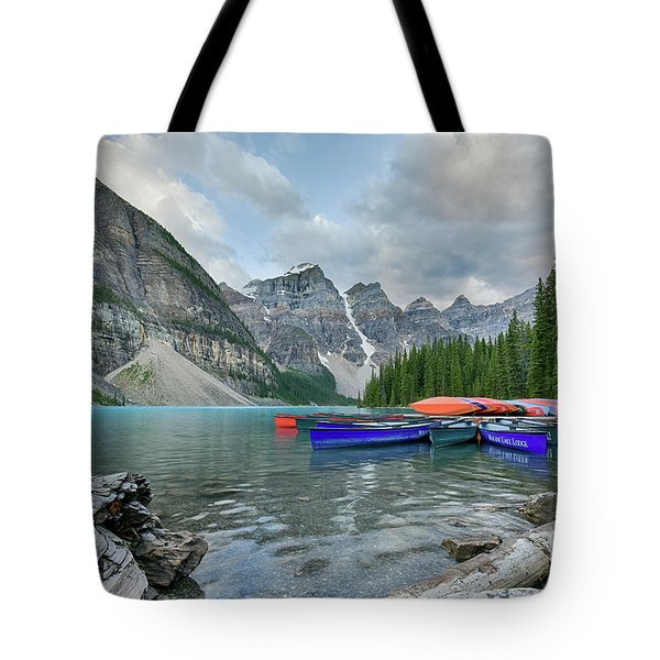 Moraine Logs And Canoes Tote Bag
