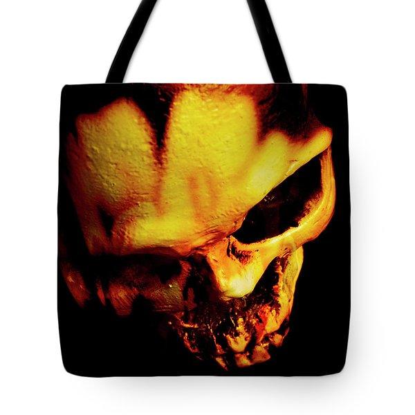 Morbid Decaying Skull Tote Bag