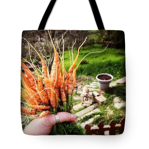Carrot Picking Tote Bag by Nancy Ingersoll