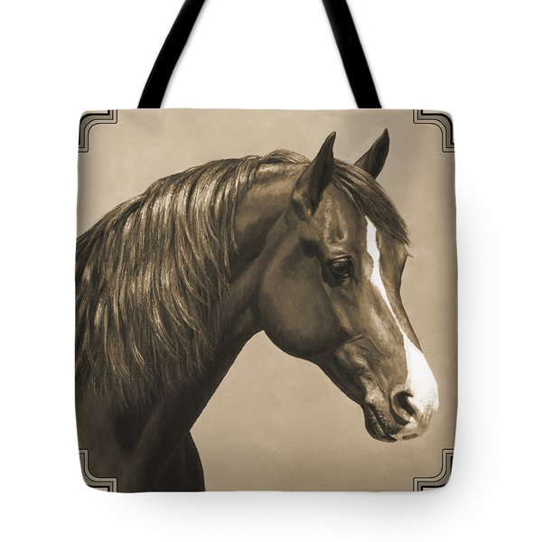 Morgan Horse Painting In Sepia Tote Bag