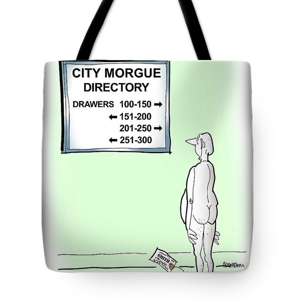 Tote Bag featuring the digital art Morgue Directory by Mark Armstrong