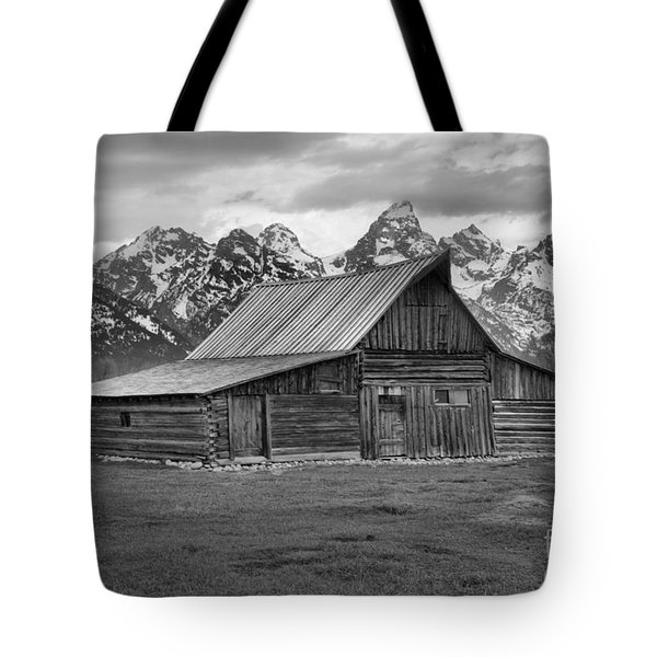 Mormon Homestead Barn Black And White Tote Bag by Adam Jewell