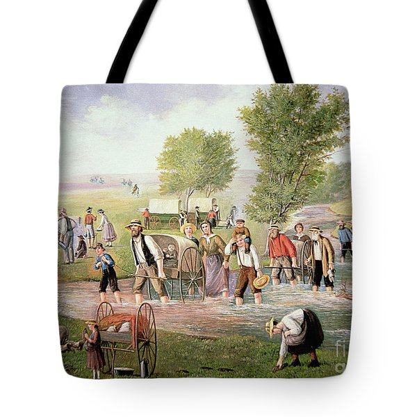 Mormon Pioneers Pulling Handcarts On The Long Journey To Salt Lake City In 1856 Tote Bag