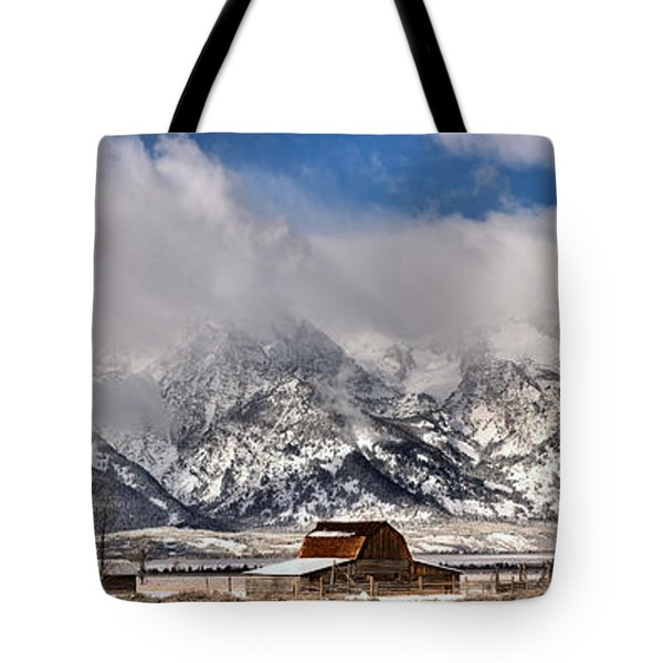 Tote Bag featuring the photograph Mormon Row Early Winter Panorama by Adam Jewell