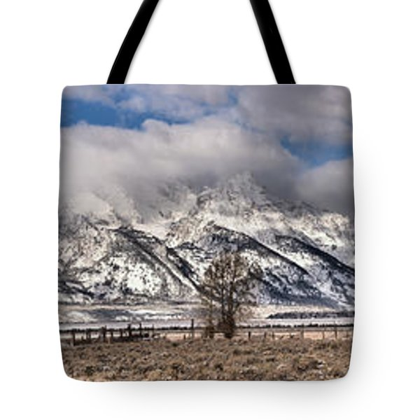 Tote Bag featuring the photograph Mormon Row Extended Panorama by Adam Jewell