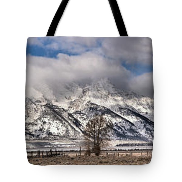 Tote Bag featuring the photograph Mormon Row Snowy Extended Panorama by Adam Jewell