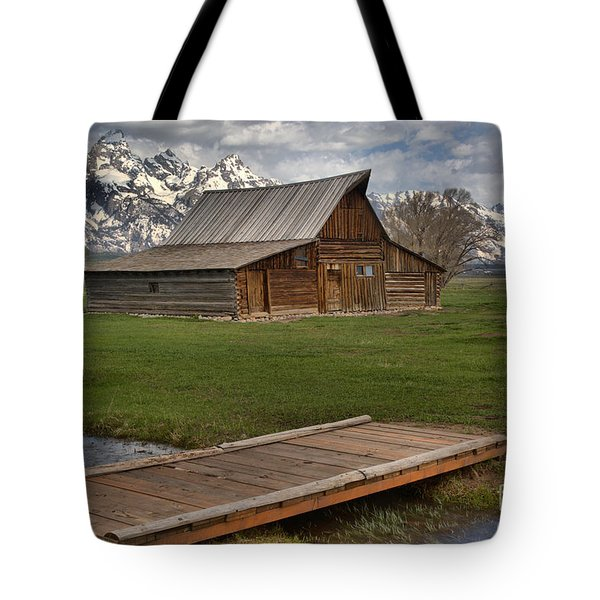 Mormon Row Water Crossing Tote Bag by Adam Jewell