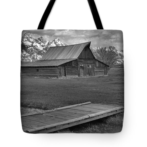 Mormon Row Water Crossing Black And White Tote Bag by Adam Jewell