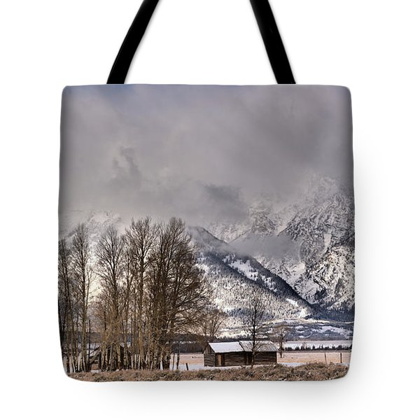 Tote Bag featuring the photograph Mormon Row Winter Morning Panorama by Adam Jewell