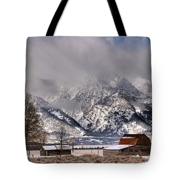 Tote Bag featuring the photograph Mormon Row Winter Panorama by Adam Jewell