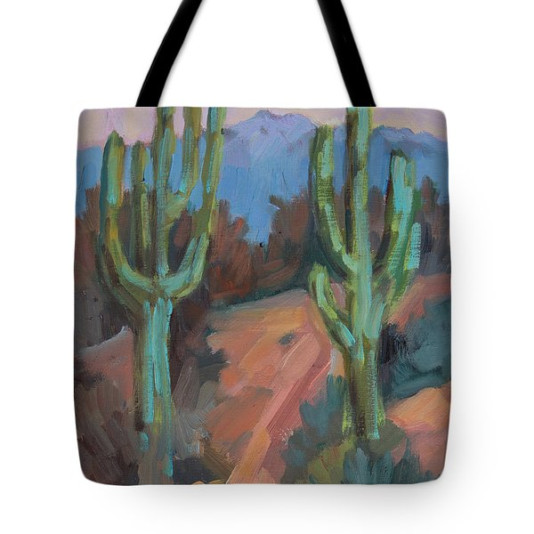 Tote Bag featuring the painting Morning At Fort Apache by Diane McClary