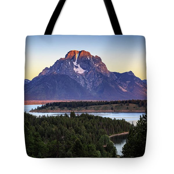 Tote Bag featuring the photograph Morning At Mt. Moran by David Chandler
