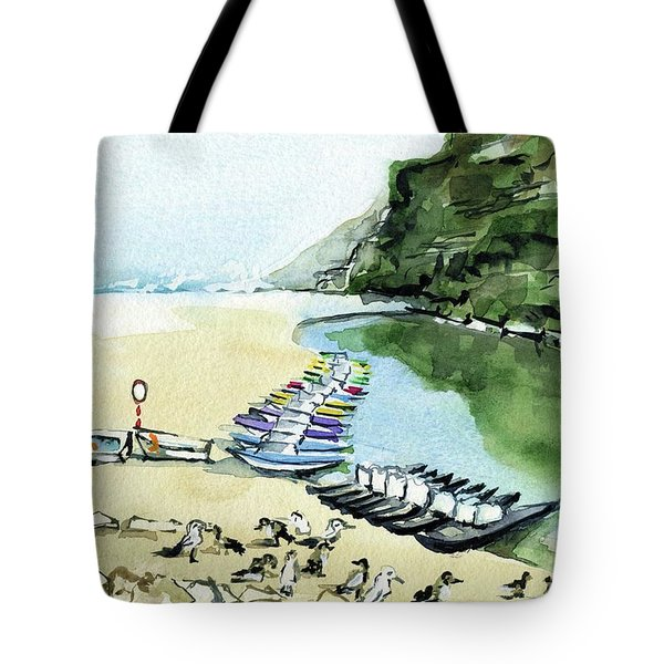 Tote Bag featuring the painting Morning At Porto Novo Beach by Dora Hathazi Mendes