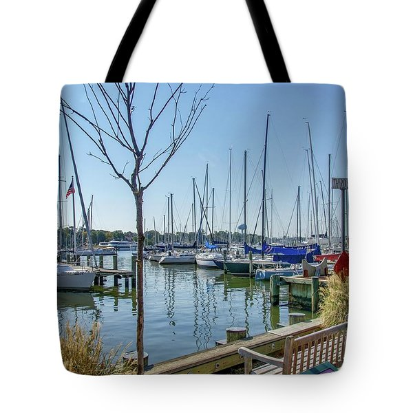 Tote Bag featuring the photograph Morning At The Marina by Charles Kraus