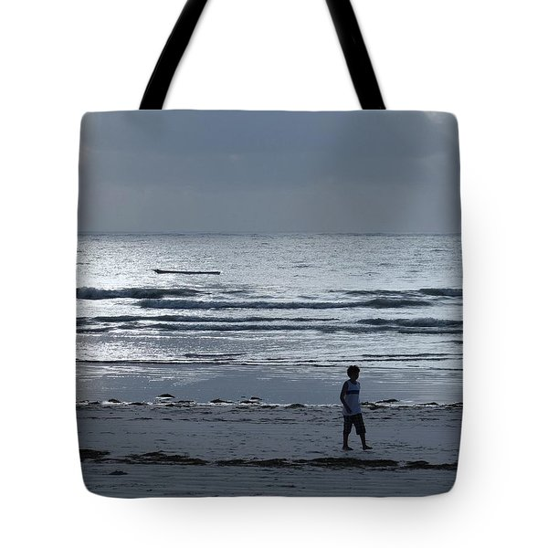 Morning Beach Walk On A Grey Day - Lone Dhow Tote Bag