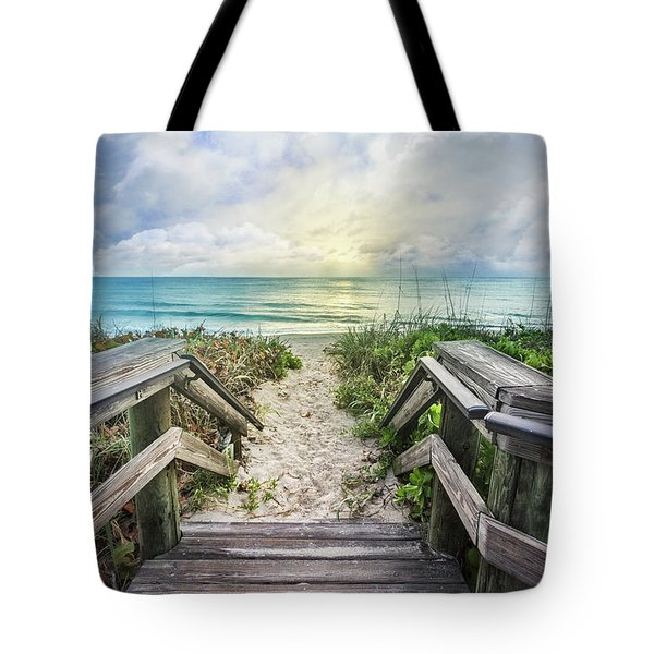 Tote Bag featuring the photograph Morning Blues At The Dune by Debra and Dave Vanderlaan