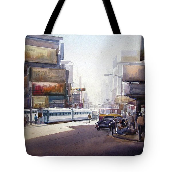 Tote Bag featuring the painting Morning City Street by Samiran Sarkar