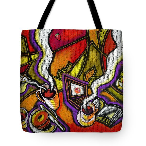 Tote Bag featuring the painting Morning Coffee And Internet by Leon Zernitsky