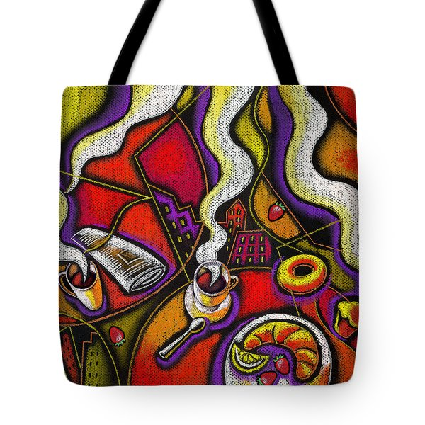 Tote Bag featuring the painting Morning Coffee Cup And Muffin  by Leon Zernitsky