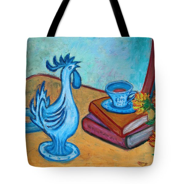 Tote Bag featuring the painting Morning Coffee Rooster by Xueling Zou