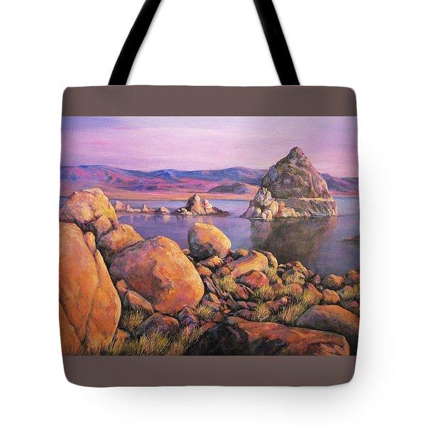 Morning Colors At Lake Pyramid Tote Bag by Donna Tucker