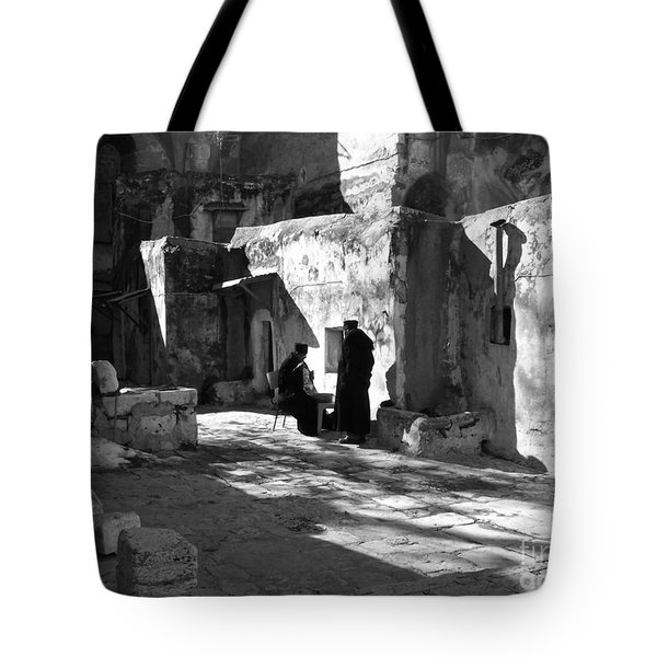 Morning Conversation In Bw Tote Bag