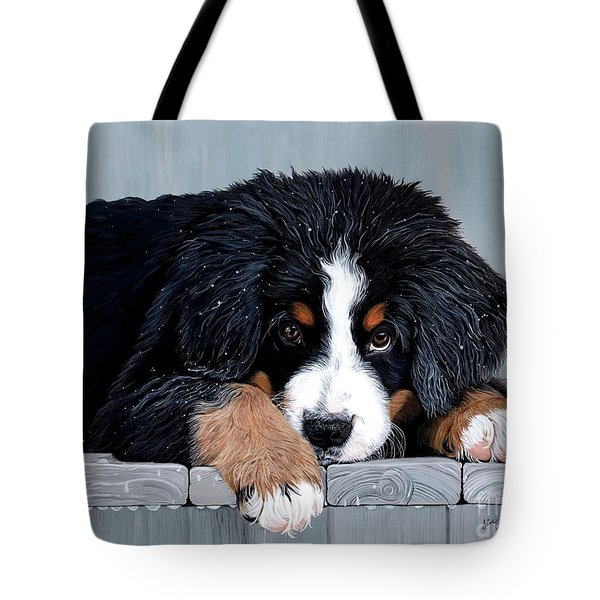 Morning Dew - Bernese Mountain Dog Tote Bag