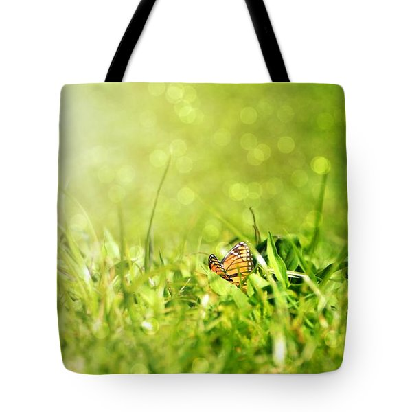 Morning Dew Monarch Butterfly Tote Bag