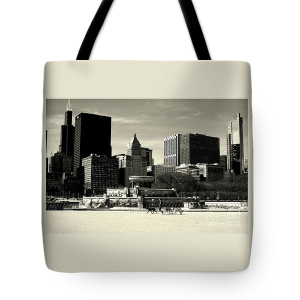Morning Dog Walk - City Of Chicago Tote Bag