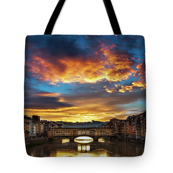 Tote Bag featuring the photograph Morning Drama Over Florence by Andrew Soundarajan