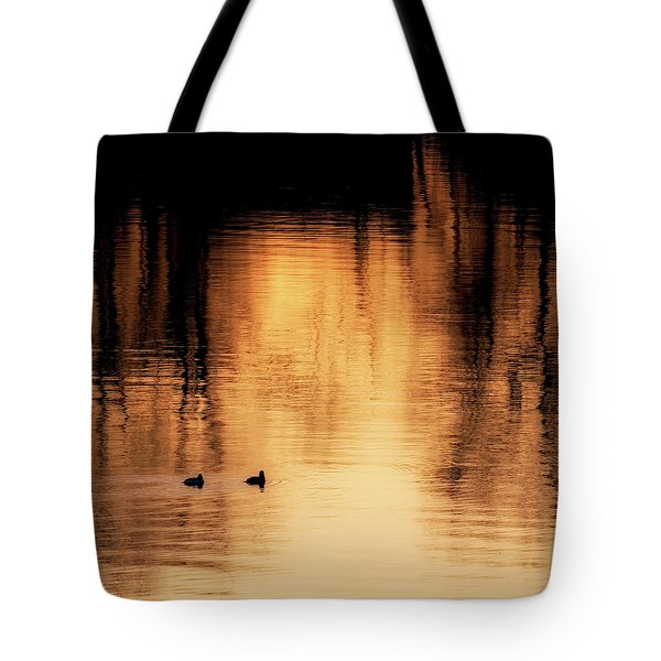 Tote Bag featuring the photograph Morning Ducks 2017 Square by Bill Wakeley