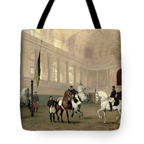 Morning Exercise In The Hofreitschule Tote Bag
