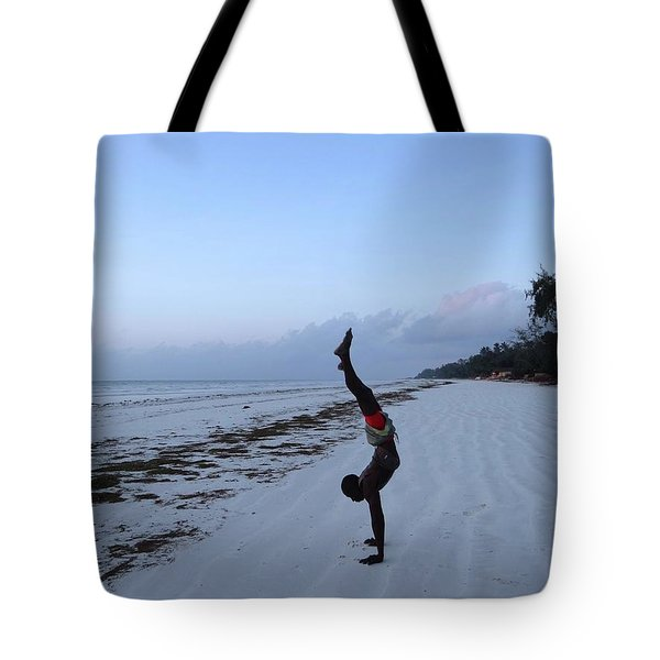 Morning Exercise On The Beach Tote Bag