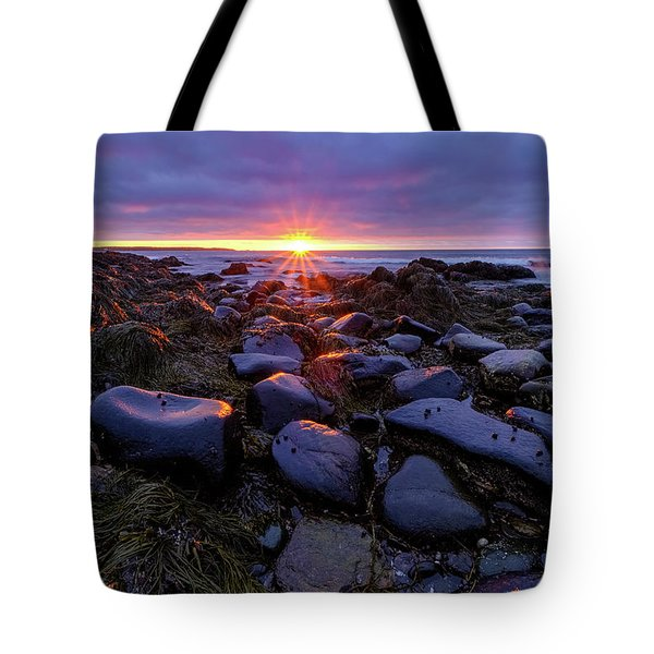 Morning Fire, Sunrise On The New Hampshire Seacoast  Tote Bag