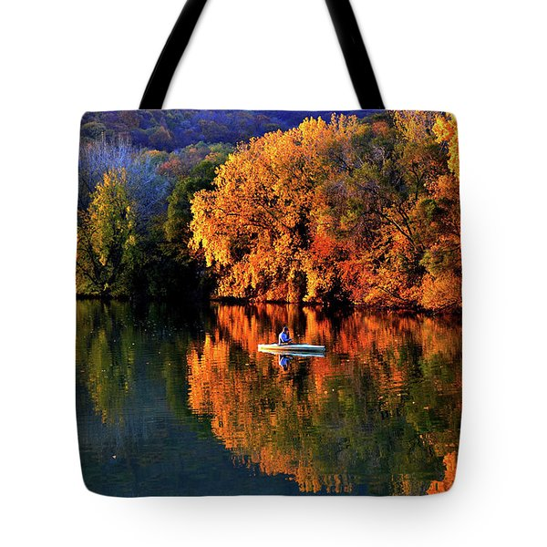 Morning Fishing On Lake Winona Tote Bag