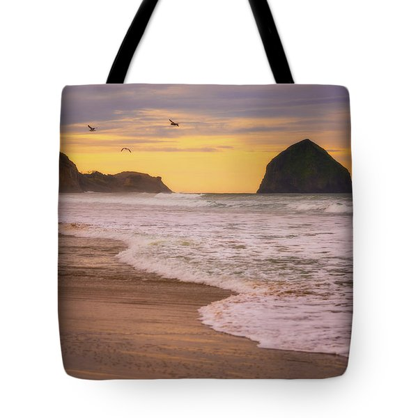 Tote Bag featuring the photograph Morning Flight Over Cape Kiwanda by Darren White