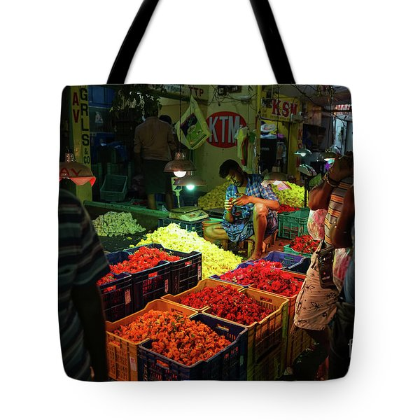 Tote Bag featuring the photograph Morning Flower Market Colors by Mike Reid