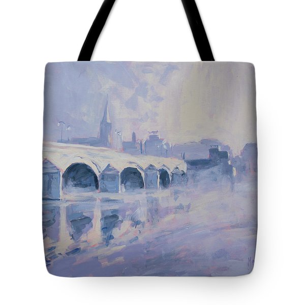 Morning Fog Around The Old Bridge Tote Bag