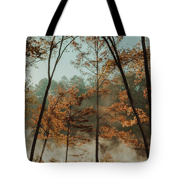 Tote Bag featuring the photograph Morning Fog At The River by Iris Greenwell