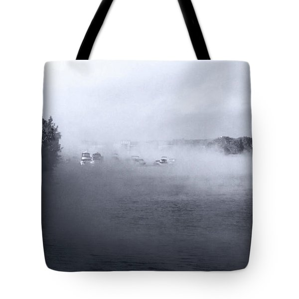 Tote Bag featuring the photograph Morning Fog - Hudson River by John Schneider